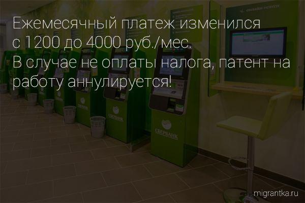 Ежемесячный платеж за патент в 2015 году составит 4000 руб.